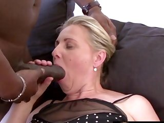 Mature blonde battalion together with grandmas enjoy sucking huge together with black dicks so to one's liking
