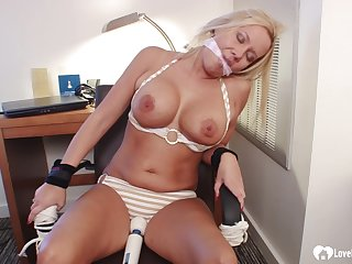 Bound and gagged flaxen hair girl gets toyed on every side