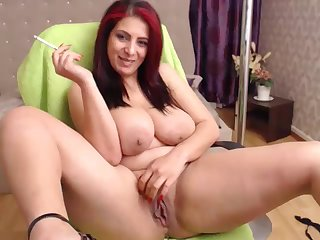 lusty redhead housewife with chubby naturals - smoking webcam