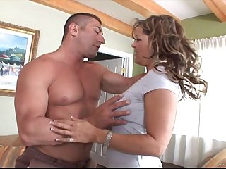 MILF in nylon stockings deepthroating and riding a cock on cumshot
