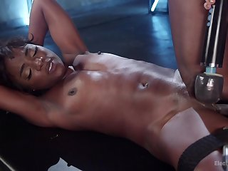 Ebony with small tits dominated added to fucked in merciless femdom
