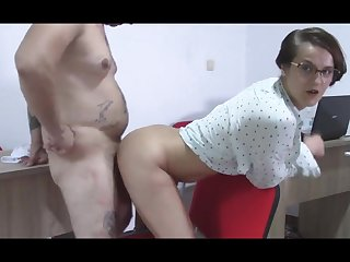 Secretary Find her Boss Jerks off Abuse him with her Tight Hoochie-Coochie