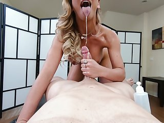 Sloppy cock sucking act additionally to to some happy ending