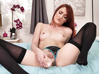 Sexy taboo JOI with radiant red-haired doyen bird Andi Bourbon