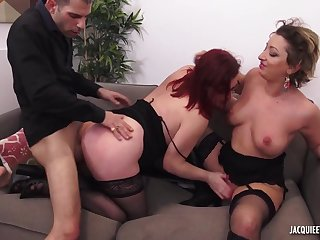 Outlandish man fucks chubby mature and her lassie in threesome