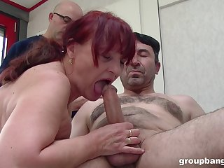 Chubby mature loads a lot of cock in her old holes