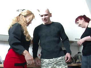 Weirdo threesome fucking everywhere the scullery down one mature ladies