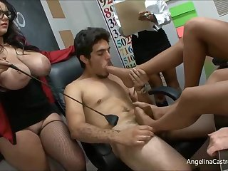 Angelina is a heavy titted teacher who likes to try casual orgies here their way students
