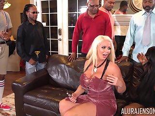 Interracial gangbang with lustful MILF Alura Jenson
